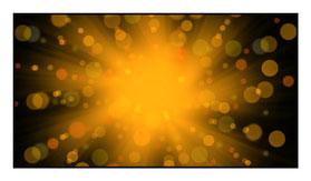 """Bildheizung """"Lichtshow"""" 600 Watt, 110x60cm, hier mit Rahmen schwarz glänzend, zum Vergrößern anklicken!"""