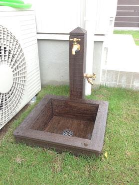 ウッド調コンクリート製立水栓