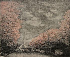 国立駅舎と大学通りの桜 (銅版画・F10)