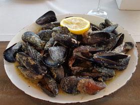MAG Lifestyle Magazin Meeresfrüchte der kroatischen Adria, Buzara Busara Miesmuscheln Scampi Muscheln weiss rot Kroatien Urlaub
