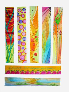 marques pages (recto) - aquarelle sur papier (plastifié) @B.Dupuis