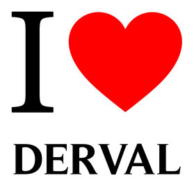 Lettre I en noir et un coeur rouge pour dire i love derval