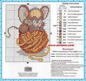 """Схема для вышивания """"Мышонок"""" на сайте www.detiam.com"""