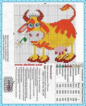 """Схемы для вышивания """"Корова"""" на сайте www.detiam.com"""