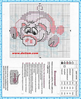 """Схема для вышивания """"Свинка"""" на сайте www.detiam.com"""