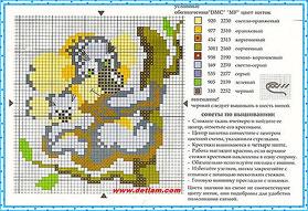 """Схема для вышивания """"Ленивец"""" на сайте www.detiam.com"""
