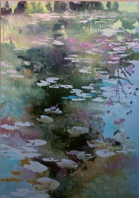 Celeste con cieli sempre più marini olio su tela cm 100 x 70