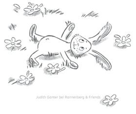 Hase Wiese glücklich - MOMENT MAL! - ALLTAGSTROTTVERTREIBER Blöckchen - Judith Ganter - Illustriertes Kopfkino für Alltagsoptimisten - bei Rannenberg & Friends - Kreative Anregungen für einen fröhlichen Alltag - Geschenkartikel mit Bildern