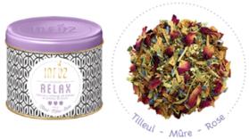 """Infusion """"Relax"""" au mélange floral de tilleul, de rose et de mûres."""