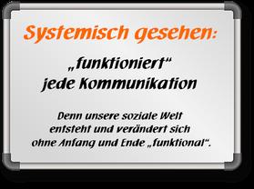 Systeme und Kommunikation funktionieren, weil sie funktional entstehen und verändern