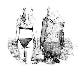 Tegenstelling op het strand