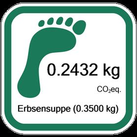 Der CO2-Fußabdruck der vegetarischen Erbensuppe, ausgeliefert im PP-Behälter.