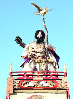神武天皇(じんむてんのう)と弓の先にとまった「金鵄」(きんし)
