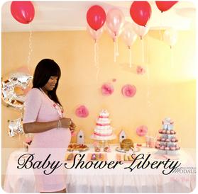 baby shower liberty fleur rose girly fille bébé naissance grossesse fête idée décoration