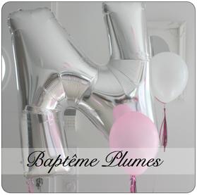 baptême plumes feather rose fille blanc ballon lettre argent paillette glitter idée décoration bordeaux