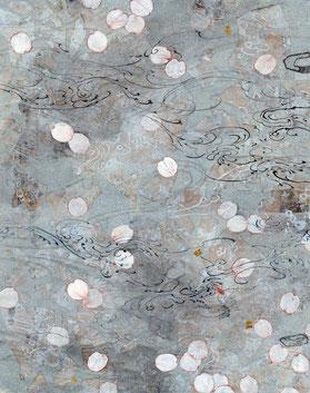 「ちりぬる」 和紙・岩絵具・墨 F4