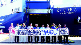 「かりゆし」の就航セレモニーが行われた=17日、石垣港