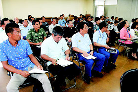 プログラムの内容を確認した石垣島まつり実行委員会の第2回会合=24日午後、市役所