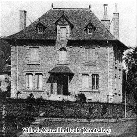 """Ancienne villa Colomb dite """"Le castellou"""" - Cl. LTeillet - Ed. Delmas - Carte postale ancienne (détail) - Coll. B.C./Musée du Veinazès"""