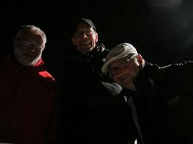 Trave 2012 Nachts um 2 Uhr  Fähre zum Privall : Halbfinalisten D-Turn ier Triplette Heinz Kamp, Achim Kamrad und Michel Schille-Schumacher.