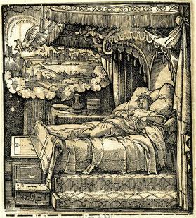 Der Traum von Skanderbeg Mutter. Holzschnitt, Jörg Breu d. J. (1533)