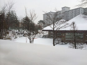草津温泉の雪景色