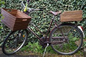 Fahrrad mit Feye-Fahrradkorb, vorn befestigt, © Michelle Feye