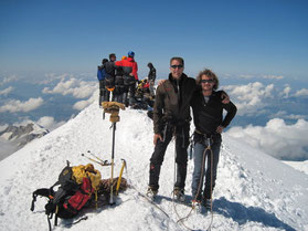 Loic Desage and Stef Wolput on the summit of Mont Blanc 27 aug 2009