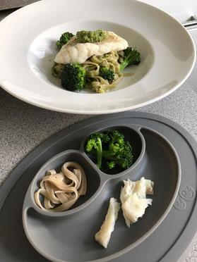 Baby-led Weaning - Tagliatelle mit Kabeljau und Brokkoli(-Pesto)