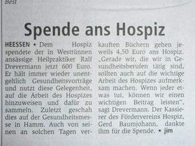 Naturheilpraxis Ralf Drevermann spendet an das Hospiz Hamm