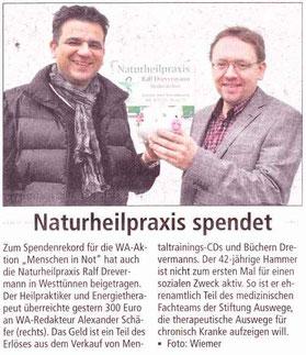 Naturheilpraxis Ralf Drevermann spendet an Menschen in Not