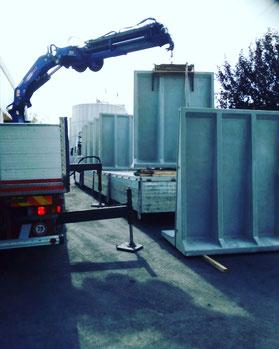 Rimini gru noleggio camion gru per trasporto e scarico new jersey Emilia Romagna e Marche