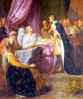 Saint Louis, roi de France, sur son lit de mort, donnant ses derniers conseils à son fils Philippe, par Jacques-Antoine Beaufort (chapelle Saint-Louis de l'École Militaire, à Paris). TEMPLE DE PARIS