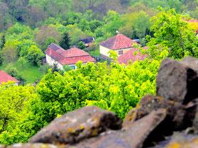 unterhalb der Burg die Altstadt von Hollokö