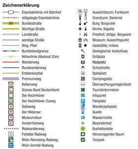 Legende Kartenmaterial Wanderwegenetz Hohe Rhön - per Klick vergrößerbar