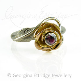 Rose Flower Ring in 18ct White & Rose Gold with a Ruby