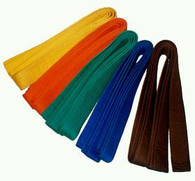 Budō-Gürtel (jap. Obi) in den Farben der fünf Schülergrade (jap. Gokyū) | Quelle: Wikipedia