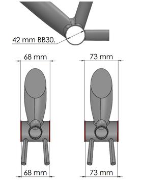 Boitier BB30 messures du cadre seul vtt electrique