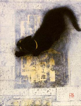 「神戸の街で」 日本画 雲肌麻紙、薄美濃紙、箔、リト技法 F0