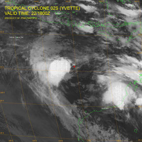 Tropical Cyclone Yvette formed briefly on 22 December 2016. Ytette has been downgraded from a category 1 cyclone to tropical low with sustained winds near the centre of 65 kph with wind gusts to 95 kph.   Ex-Tropical Cyclone Yvette has been moving toward