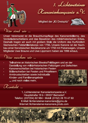 Imageflyer der Lichtensteiner Kanoniere vom 28. März 2013