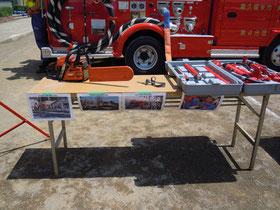 活動の写真と機器の展示
