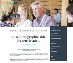 Refonte du site internet de Pakolla entreprise basée à Montréal spécialisée en photo reportage pour les compagnies par Marie Deschene
