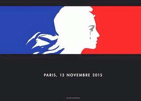 """Larmes de Marianne, sur fond de drapeau tricolore """"Paris, 13 novembre 2015"""""""