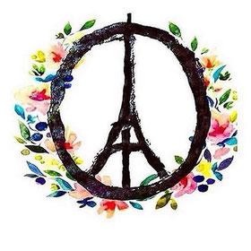 """Sybole de paix """"Peace and love"""" avec la Tour Eiffeil dans un rond entourée d'une guirlande de fleurs multicolores"""