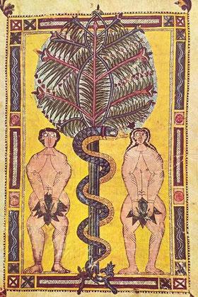 Adán y Eva.Miniatura del Beato del Escoria.l, obra anónima, hacia 950.Biblioteca del Real Monasterio del Escorial
