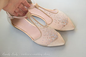вечерние балетки с стразами Loubotin balerina shoes bridal shoes