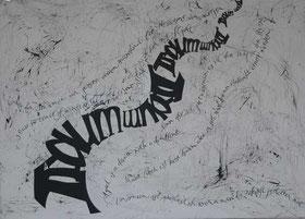 Kalligraphie Acrylbild mit Sprüchen Traum