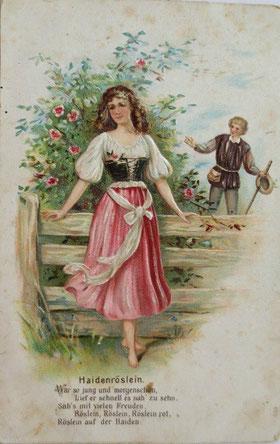 1914年、エンボスポストカード、野薔薇、ことわざ、女性、男性