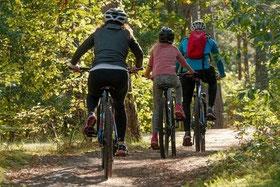 une famille deux adultes et un enfant en train de faire du vélo dans un bois par le gite du domaine de la gorre en location pour vous faire découvrir les activités de l'ardeche